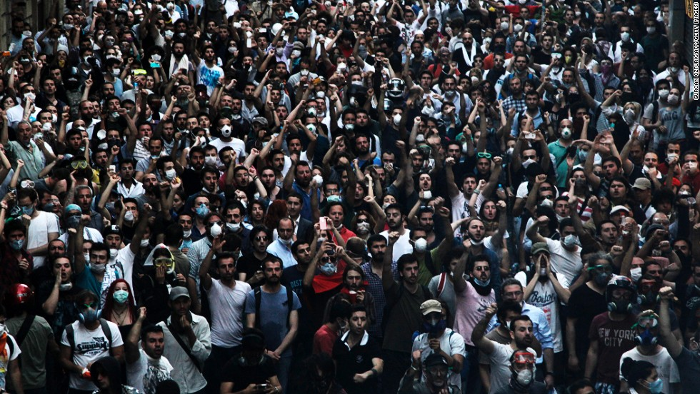 A large group of demonstrators gather to protest the demolition of Gezi Park in Taksim Square on May 31.