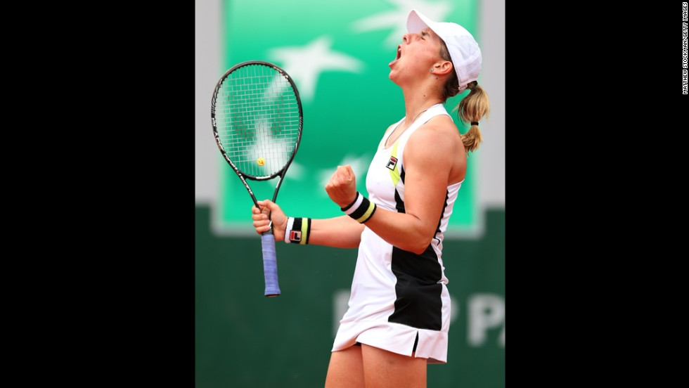 Marina Erakovic of New Zealand celebrates a point in her women's singles match against Sloane Stephens of the United States on June 1. Stephens beat Erakovic 6-4, 6-7(5), 6-3.