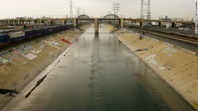 The Los Angeles River flows under the 6th Street Bridge in this 2008 photo.