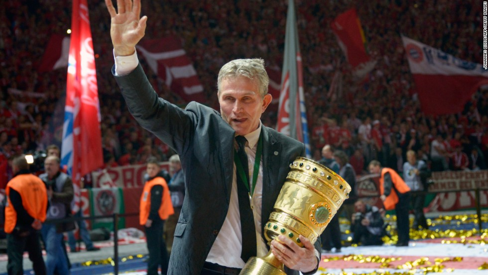 Bayern Munich's Jupp Heynckes waves to the crowd after winning the German Cup in his final match in charge.