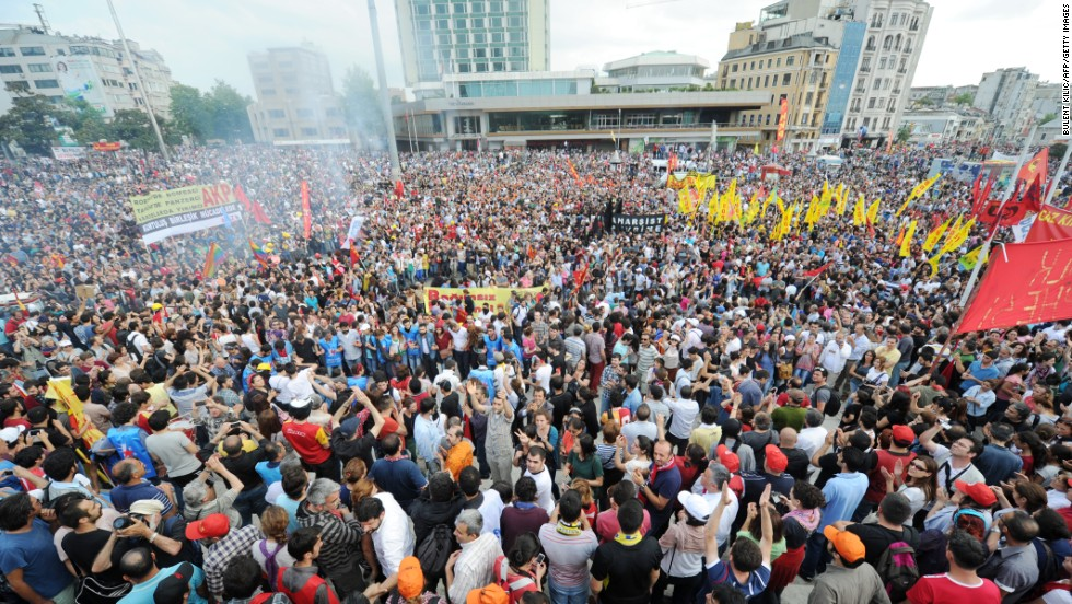 Protesters gather in Taksim Square in Istanbul on Sunday, June 2.