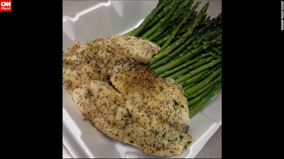 For dinner, Garrett sticks with lean proteins and vegetables.