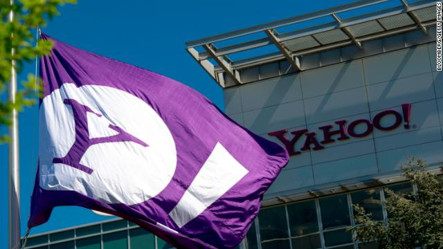 The Yahoo logo is displayed on a flag flying at the company's headquarters in Sunnyvale, California, on April 16, 2013.