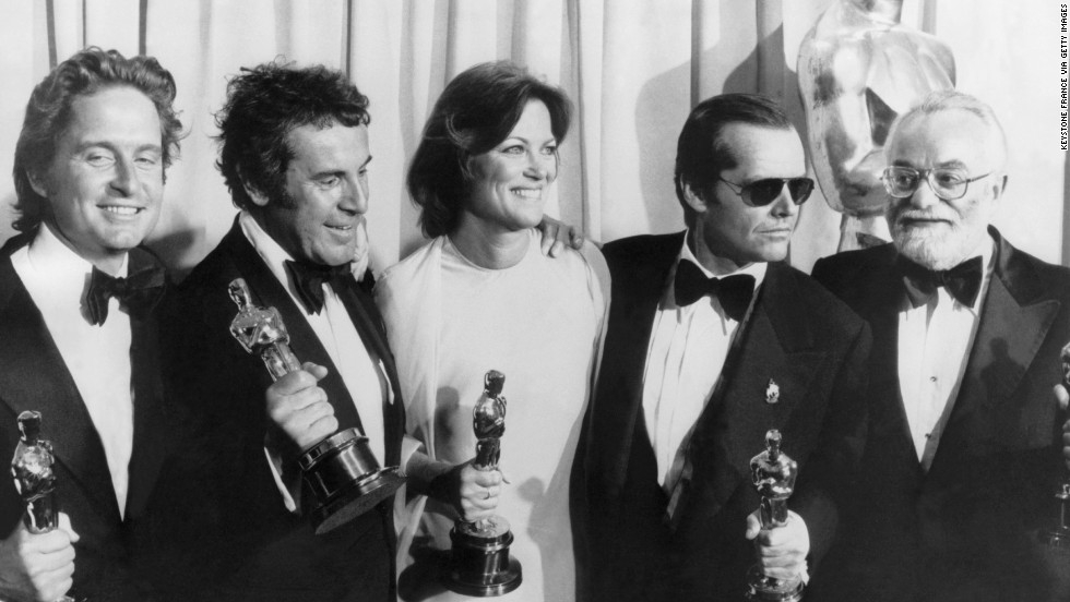 "From left, producer Michael Douglas, director Milos Forman, actress Louise Fletcher, actor Jack Nicholson and producer Saul Zaentz, hold Oscars at the 43th Academy Awards for the 1975 film, ""One Flew Over the Cuckoo's Nest."" Douglas has been nominated for and won two Academy Awards."