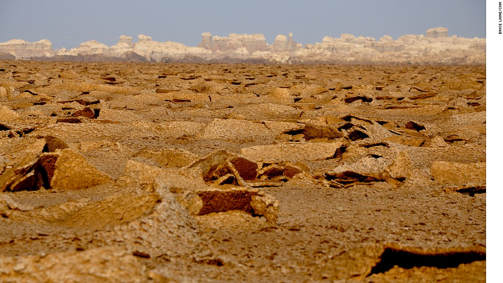 Acidic liquids, basalt and salt formations make up the volcanic landscape of Ethiopia's desert basin.