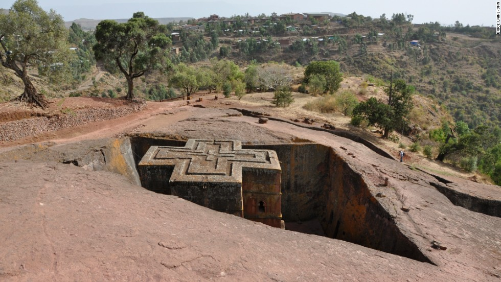"Ancient rock-hewn monolithic churches dot the north of  Ethiopia, one of the oldest Christian countries in the world. Often perched above steep cliffs, reaching them requires fitness and determination. ""I felt like Indiana Jones raiding the Lost Ark,"" says Laine about exploring the 12th-century Bet Giyorgis  (St. George) monolithic church in Lalibela, pictured here."