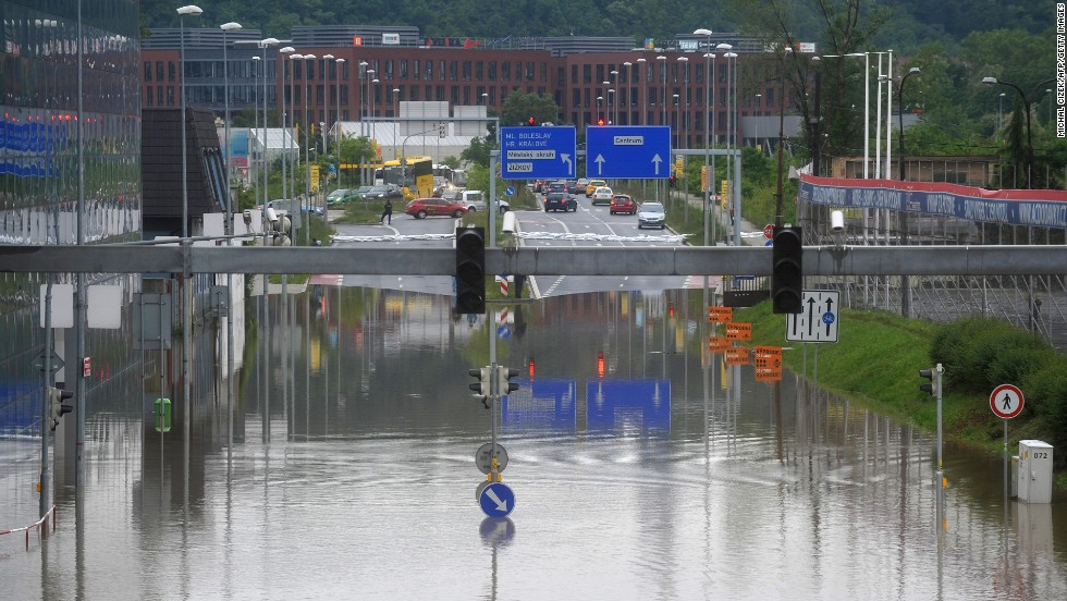 Floodwaters cover a road in Prague on June 3.