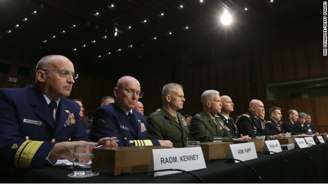 .S. military leaders, including all six members of the Joint Chiefs of Staff, testify before the Senate Armed Services Committee on pending legislation regarding sexual assaults in the military June 4, in Washington, D.C.
