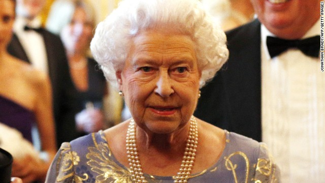 Queen Elizabeth II looks on during a reception for the Royal National Institute for the Blind held at St James Palace in London on June 3, 2013.