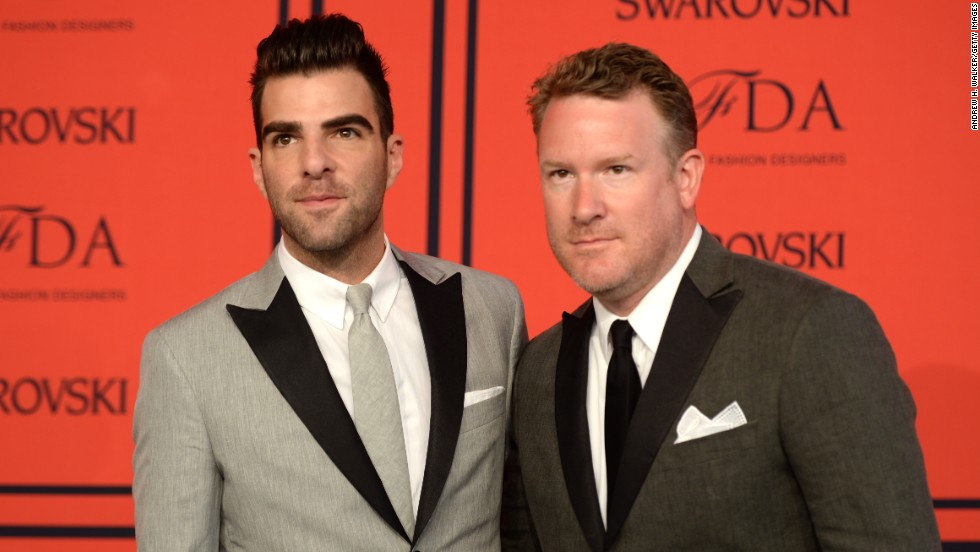 "Zachary Quinto, left, the actor who has taken on the mantle of  iconic sci-fi character Spock (next seen in ""Star Trek Into Darkness"") wears a suit by menswear designer <a href=""http://cfda.com/designer/todd-snyder"" target=""_blank"">Todd Snyder</a>, who lost the emerging designer award to Dao-Yi Chow and Maxwell Osborne of Public School."