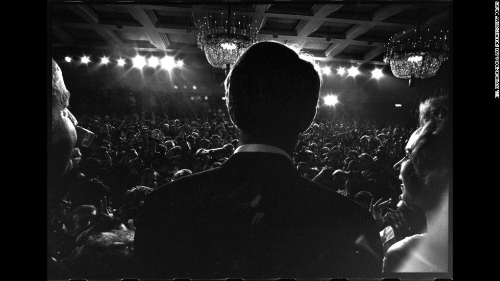 Senator Robert Kennedy gives a speech at the Ambassador Hotel in Los Angeles before his assassination, June 1968.