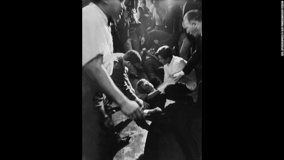 A less-famous image of Sen. Robert Kennedy and Ambassador Hotel employee Juan Romero moments after RFK was shot by Sirhan Sirhan, June 1968.
