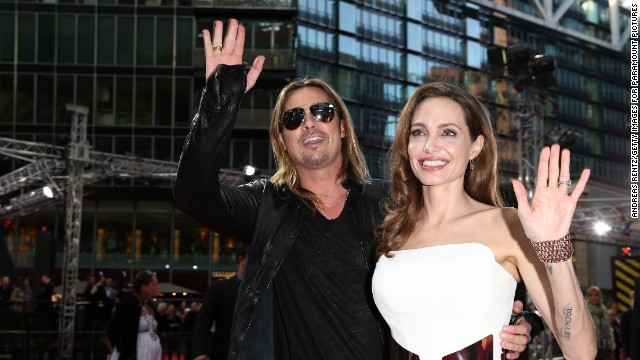 "Angelina Jolie attends a June 2013 premiere of her fiance Brad Pitt's movie, ""World War Z."""