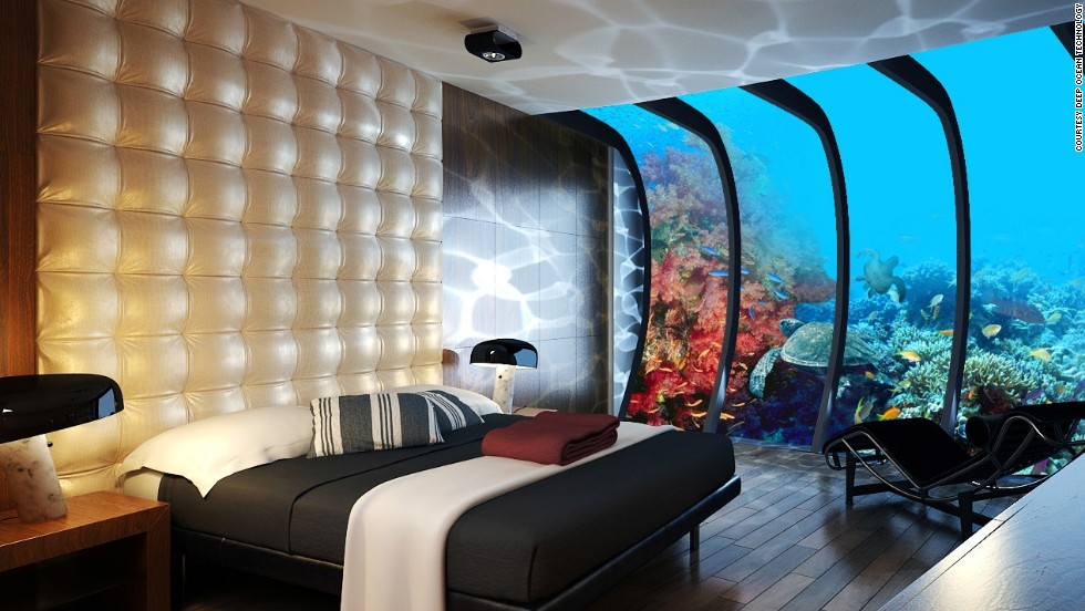 Guests can enjoy views of vibrant coral reefs and sea creatures, all from the comfort of their bedroom.