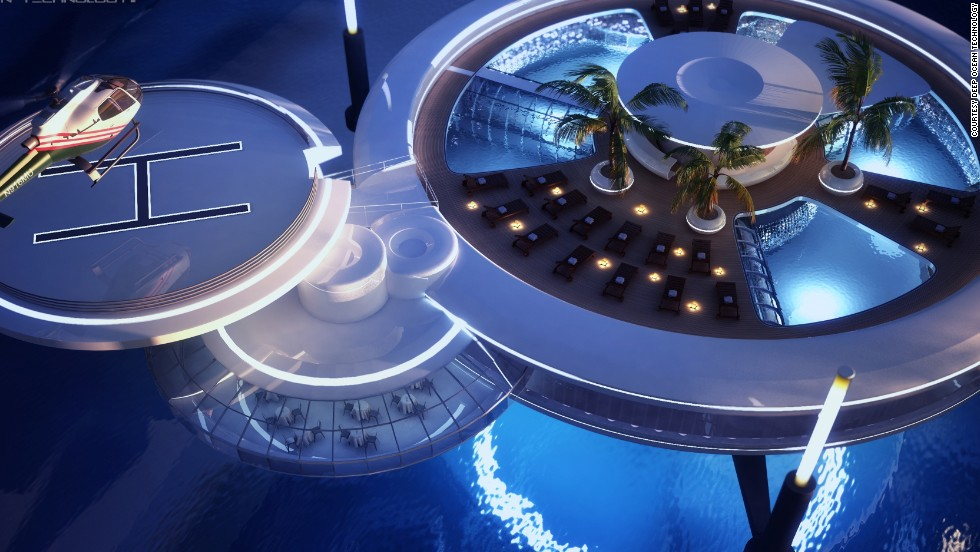 The unique structure may plunge 30-meters below the water, but its luxury facilities are sky-high, including a helicopter landing pad, opulent restaurant and rooftop swimming pool.