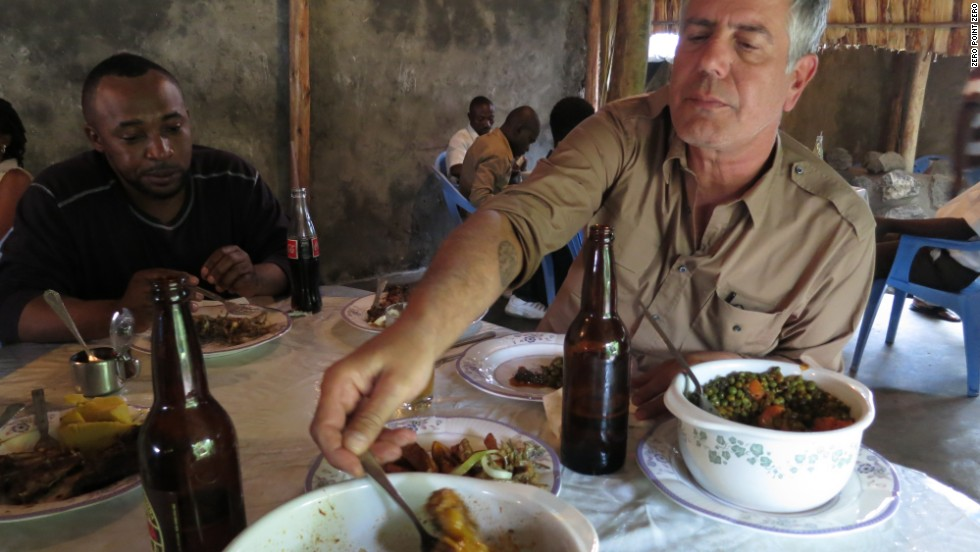 On the Congo River, it's not necessarily clear where your next meal is coming from. Bourdain fuels up on grilled chicken, ugali and piri piri pepper at Restaurant Village Fatima in Goma before setting out on his journey in the Democratic Republic of the Congo.