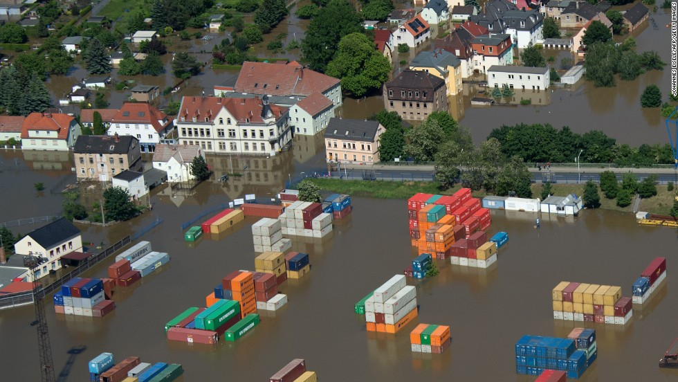 A flood container storage facility in Riesa, Germany, on Wednesday, June 5.