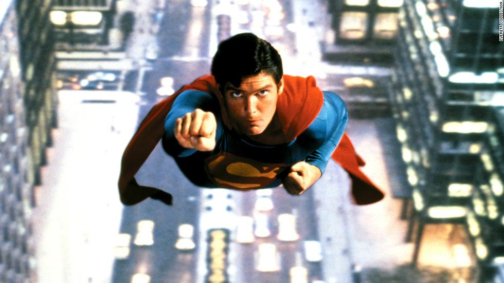 "Christopher Reeve takes the title role in the 1978 movie ""Superman."""