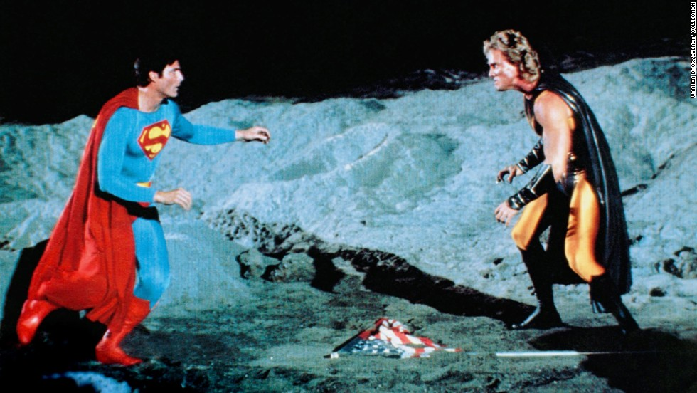 "Reeve reprises his role in 1987 for the fourth and final installment of the original Superman film series, ""Superman IV: The Quest for Peace."" Mark Pillow, right, plays the part of Nuclear Man."