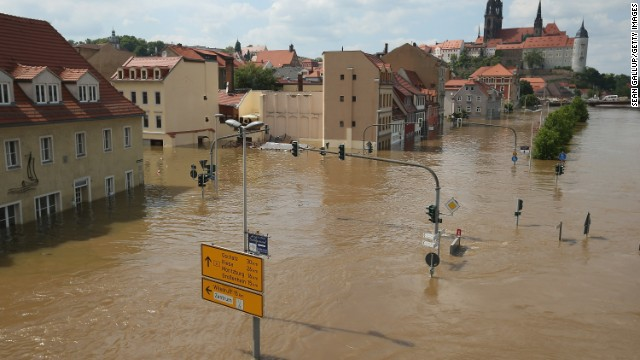 The historic city center of Meissen, Germany is seen flooded by the Elbe river on June 6.