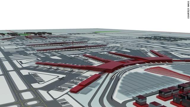 An artist's illustration of Beijing's new international airport.