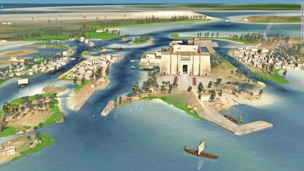 An artists' rendering of what the legendary port city of Thonis-Heracleion might have looked like at its height of prosperity.