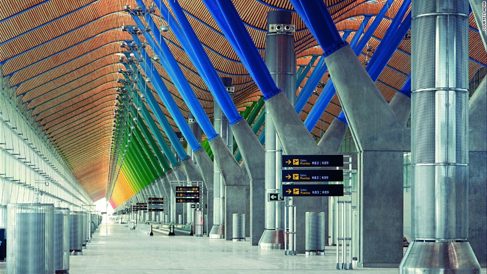 Architect Richard Rogers brought beautiful changing colors to Madrid-Barajas Airport in Spain, especially in the main terminal's departures area (pictured).