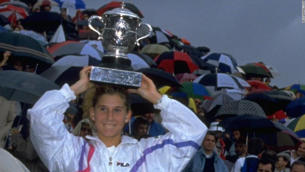 Monica Seles' career began in breathtaking fashion. In 1990, aged just 16 years and six months, the Yugoslavia-born starlet beat Steffi Graf to become the youngest French Open singles champion. After winning the year-end championships, Seles finished the season ranked No. 2 in the world.