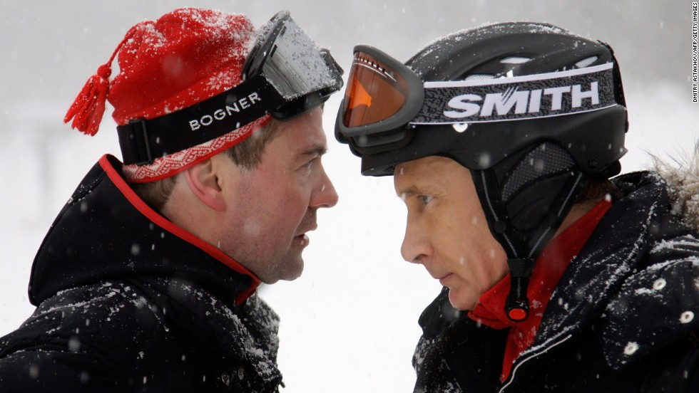 Medvedev and Putin ski together in Krasnaya Polyana in January 2010.