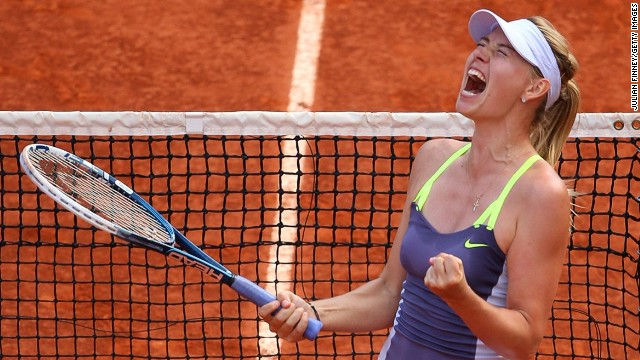 Russia's Maria Sharapova will defend her French Open title in the final against Serena Williams
