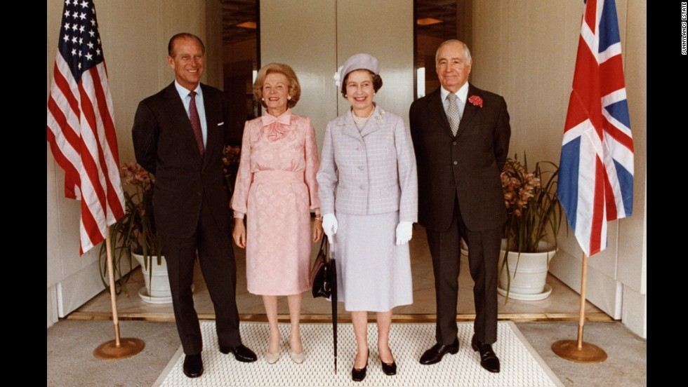 From left: Prince Phillip, Leonore Annenberg, Queen Elizabeth and Walter Annenberg at the entrance of the historic home in 1983.