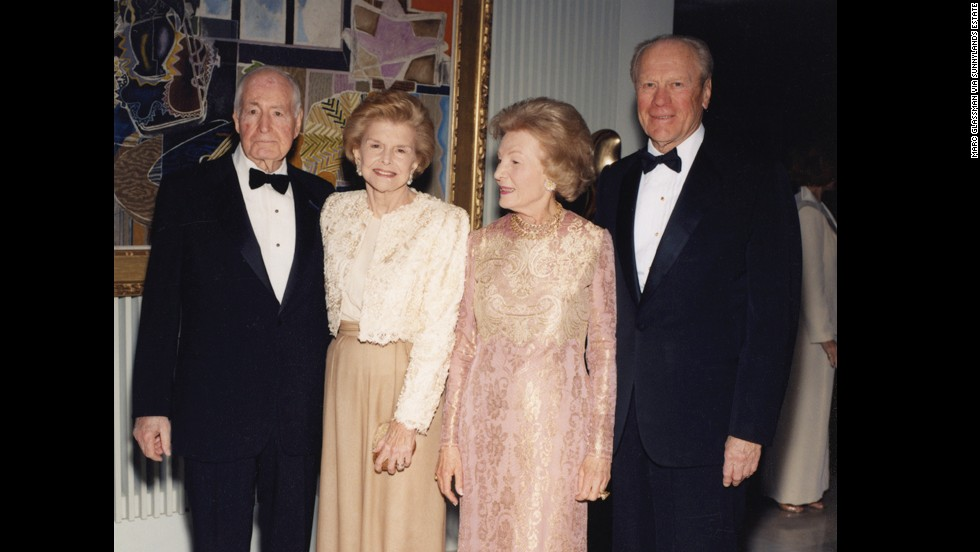 From left: Walter Annenberg, former first lady Betty Ford, Leonore Annenberg and former President Gerald Ford at Walter Annenberg's 90th birthday celebration in 1998.