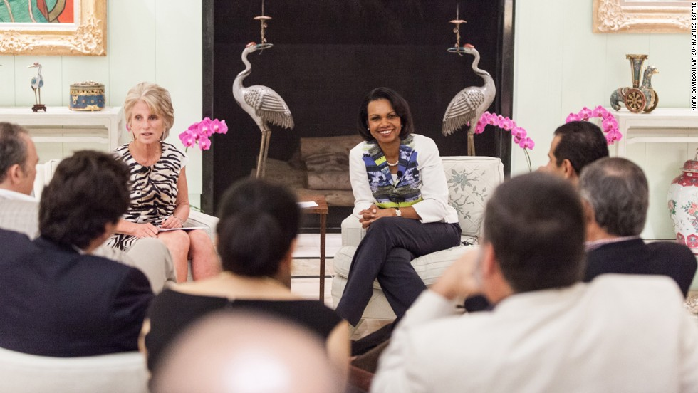 Former U.S. Congresswoman Jane Harman, left, and former Secretary of State Condoleezza Rice at Sunnylands during the U.S.-Mexico retreat in 2012.