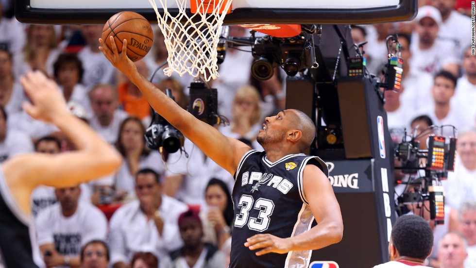Boris Diaw of San Antonio goes up for a reverse layup.