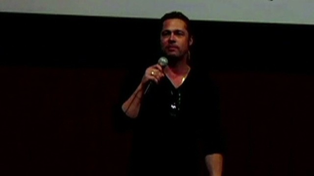 Brad Pitt shocks crowd at movie preview