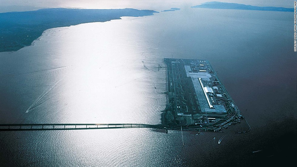 Architect Renzo Piano won a competition in 1988 to design an airport on a man-made Japanese island near Osaka that didn't yet exist. (It does now.)