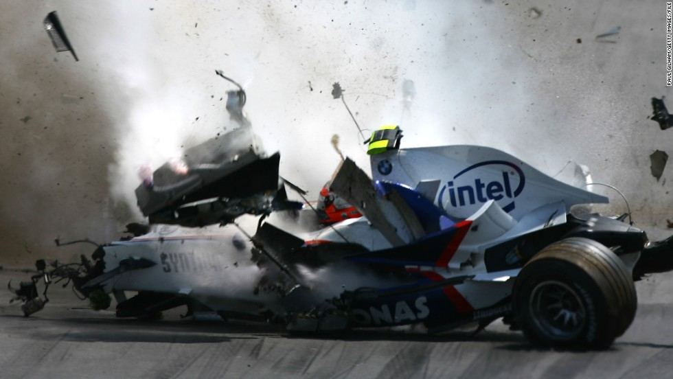 Kubica was involved in a horror crash at the 2007 Canadian Grand Prix. After clipping Jarno Trulli, he collided with a barrier -- the speed of the crash was recorded at 186.49 mph.