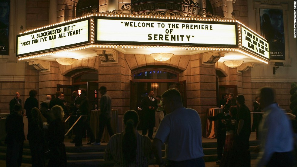 "Shown here is the September 2005 premiere of ""Serenity"" at Universal Studios in Los Angeles, California. The film was based upon the much-beloved ""Firefly"" series, which is often labeled a ""space western"" for its incorporation of elements from science fiction and Western genres. It received an Emmy Award for Outstanding Special Visual Effects for a Series in 2003. The series first launched in 2002, but lasted only a short time."