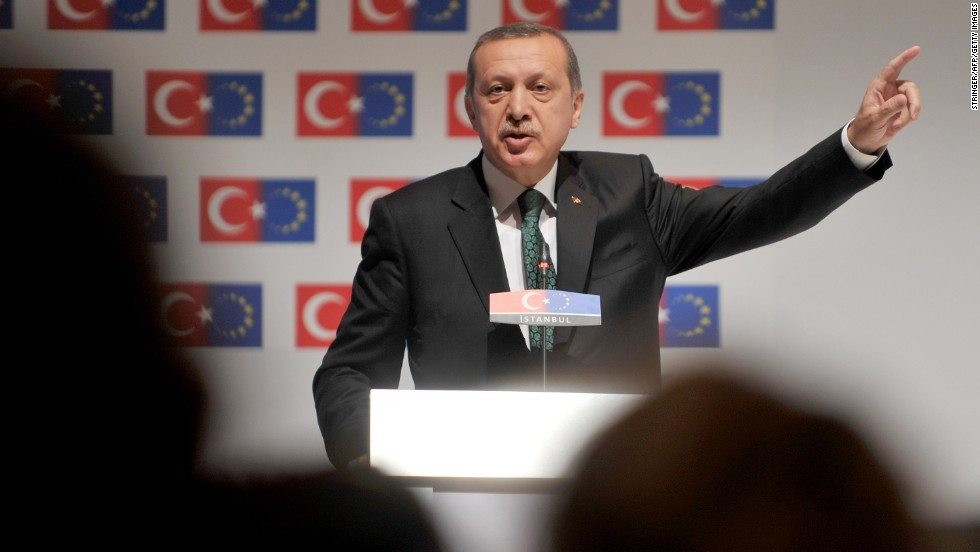 "Prime Minister Recep Tayyip Erdogan speaks during the opening session of the Ministry for European Union Affairs Conference on June 7 in Istanbul. Erdogan said today his Islamic-rooted government was open to ""democratic demands"" and hit back at EU criticism of his government's handling of a week of unrest."