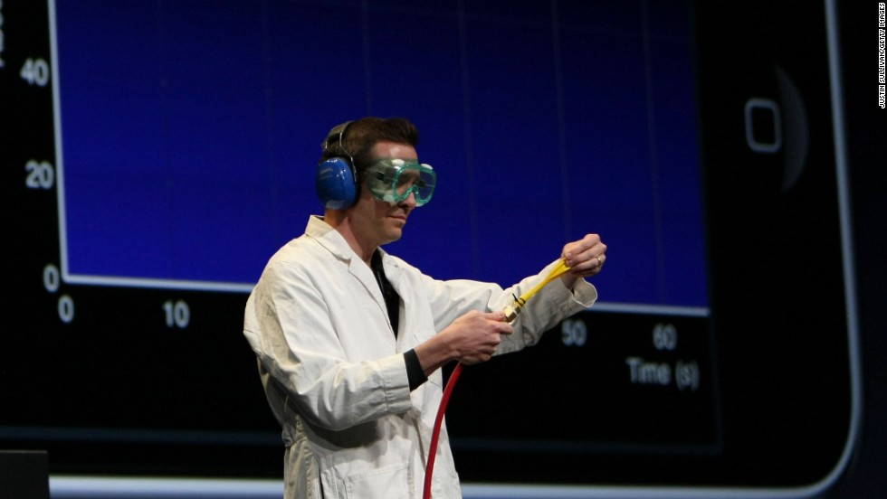 Apple Senior Vice President of iPhone Software Scott Forstall wore a lab coat and safety goggles while demoing a science app for the iPhone at the WWDC in June 2009. Jobs, suffering from cancer, was on medical leave at the time. That year Apple kicked off the conference by unveiling the iPhone 3GS.