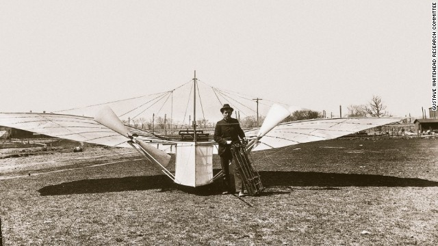 In this undated photo, Gustave Whitehead stands with his aircraft.