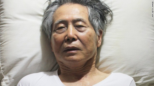 Undated handout picture released on October 13, 2012 in Lima by his family, of former Peruvian president (1990-2000) Alberto Fujimori lying in bed in prison. Peru's President Ollanta Humala on June 7, 2013 denied a request to pardon former president Alberto Fujimori, who is serving a 25-year sentence for human rights abuses.