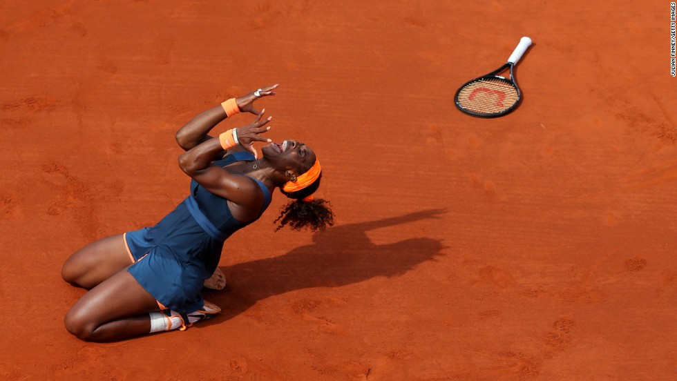 Serena Williams of the United States celebrates match point against Maria Sharapova of Russia during their women's singles final match of the French Open at Roland Garros in Paris on Saturday, June 8. Williams won 6-4, 6-4.