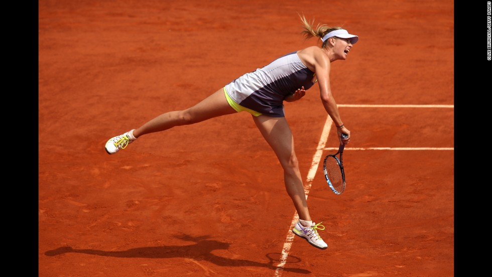 Sharapova serves against Williams.