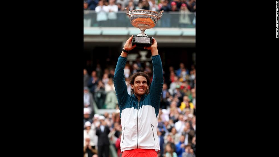 Nadal celebrates.