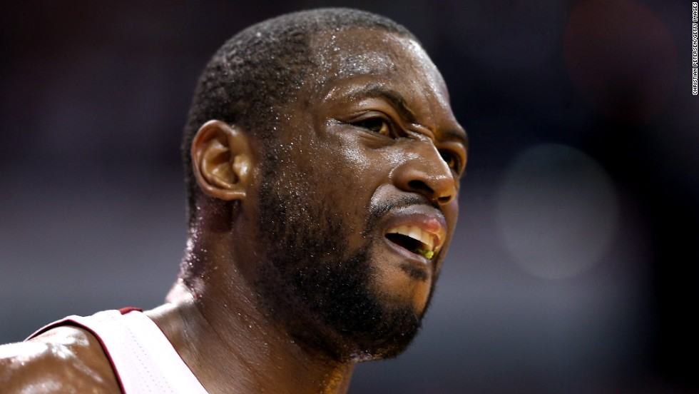 Dwyane Wade of the Miami Heat reacts in the first quarter while taking on the San Antonio Spurs.