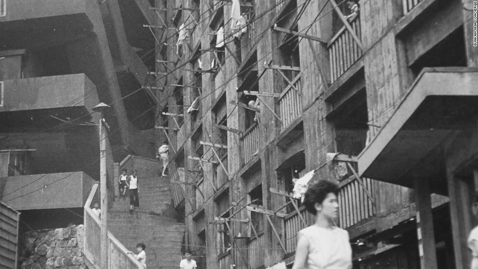 Archive photograph from before World War II shows the steep stairs leading into the warren of apartments inside the huge housing blocks on Hashima.