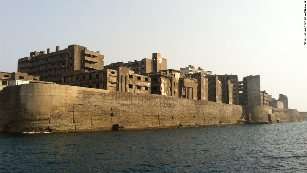 "Made famous in the latest James Bond movie, ""Skyfall,"" Hashima Island is home to a ghostly uninhabited collection of apartment blocks -- all are ruined and crumbling."