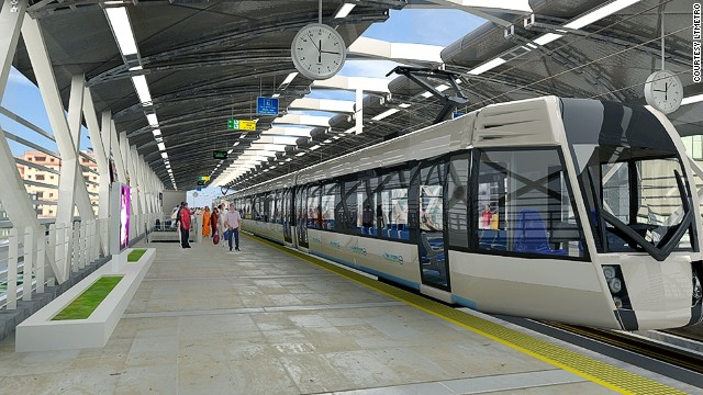 An artists impression of Hyderabads new Metro system.