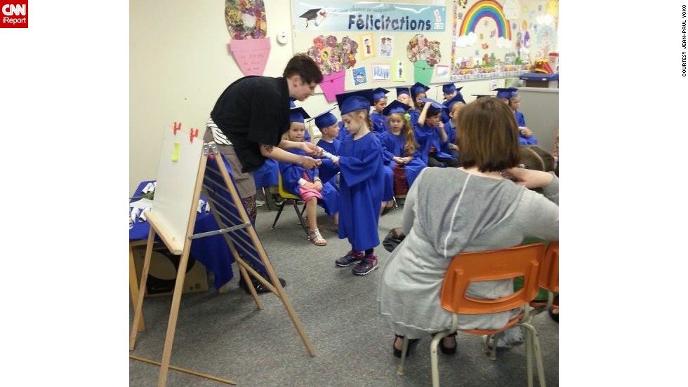 "Jean-Paul Yoko attended a preschool graduation for his girlfriend's daughter <a href=""http://ireport.cnn.com/docs/DOC-983537"">Adiena</a> at Ecole Guyot in Manitoba, Canada, where each child received a graduation certificate and contributed snacks and juice to the reception. He says a preschool ceremony ""gives some sort of closure to the teachers who have worked so hard with these kids throughout the year."""